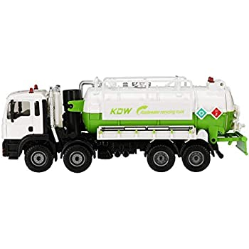 mansum 1:50 Scale Diecast Model Vacuum Sewage Waste Water Suction Truck Model Toy Shipping Model - White,White