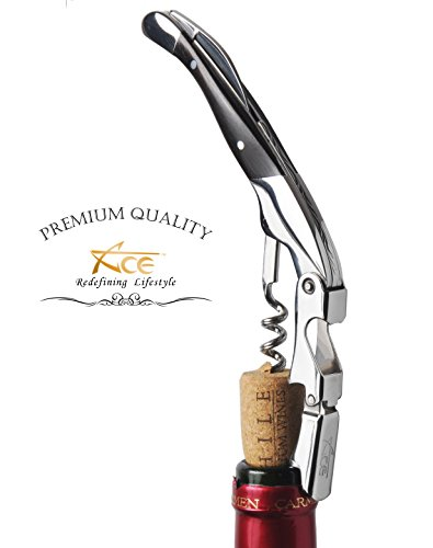 Wine Ace - ACE Wine Key - Made To Seduce The Sommeliers. With Black Ebony Wood And Mirror Finish, The All-In-1 Double Hinge Lever Corkscrew Rises Above Other Waiter's Friend, Wine Knife Or Wine Opener
