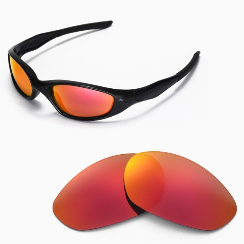 Oakley Replacement Lenses Minute - Walleva Replacement Lenses for Oakley Minute 2.0 Sunglasses - Multiple Options Available (Fire Red Mirror Coated - Polarized)