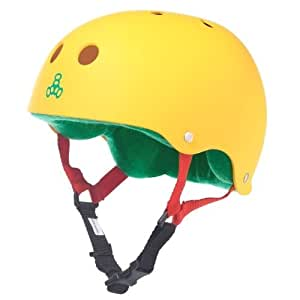 Triple 8  Rubber Helmet with Sweatsaver Liner (Rasta Yellow Rubber, Small)