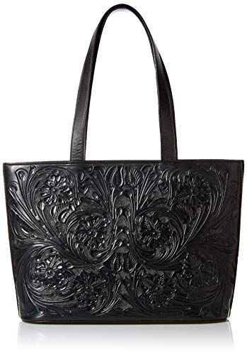 Mauzari Women's Large Leather Tote Handbag (Obsidian)