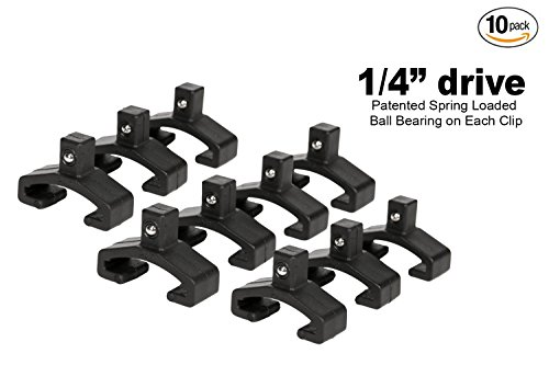 Olsa Tools | Black Spring Loaded Ball Bearing Socket Clips For Use With Olsa Socket Organizers | 10-Pack - Clip Spring Loaded