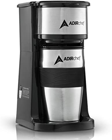 AdirChef Grab N' Go Personal Coffee Maker with 15 ounces. Travel Mug - Single Serve Coffee Maker with Coffee Tumbler - Heavy Duty Sturdy Coffee Maker - Compact Design (Black)