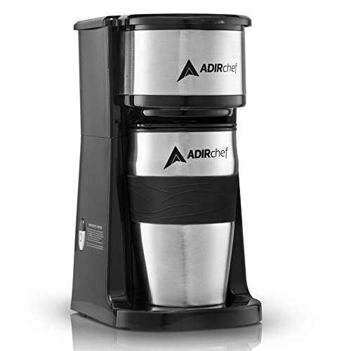 AdirChef Grab N' Go Personal Coffee Maker with 15 oz. Travel Mug, Black/Stainless Steel (15 Ounce Travel Mug)