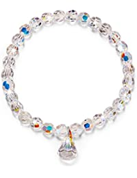 6.5/6.9 Inch Pure Love Stretch Beads Bracelet Made with Swarovski Crystals- Gifts for Your Shining Girl!