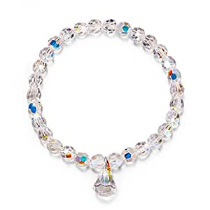 LADY COLOUR Pure Love Stretch Bracelet Swarovski Crystals Jewelry for Women Bracelets for Teen Girls Birthday Gifts for Daughter Girlfriend Best Friends Gifts for Mom Wife Grandmother Back to School