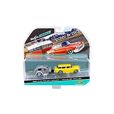 Maisto New 1:64 Tow & GO Collection - Yellow 1955 Chevrolet Nomad and Silver Traveler Trailer Diecast Model Car: Toys & Games