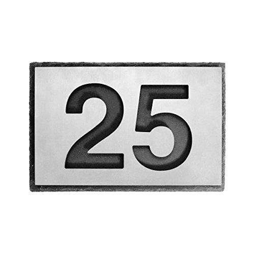 Thorwa® Design negativ Edelstahl Hausnummer Hausnummernschild auf Schiefer Schieferplatte Naturschiefer anthrazit - eckig - inkl. Montagematerial / 2 Zeichen / Größe der Schieferplatte: 30x20cm mit zwei Zeichen (fein gebürstete Hausnummer) / Farbe: schiefer grau schwarz