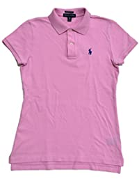 Womens Skinny Fit Mesh Polo Shirt (X-Small, Metro Pink)