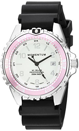 Women's Quartz Watch | M1 Splash by Momentum| Stainless Steel Watches for Women | Dive Watch with Japanese Movement & Analog Display | Water Resistant ladies watch with Date –Lume  / Pink Rubber