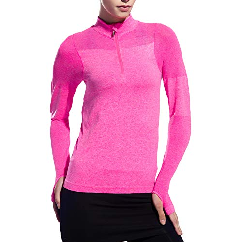 Women Long Sleeve Running Shirts with Thumb Holes Track Jackets Yoga Tops Performance Pink M