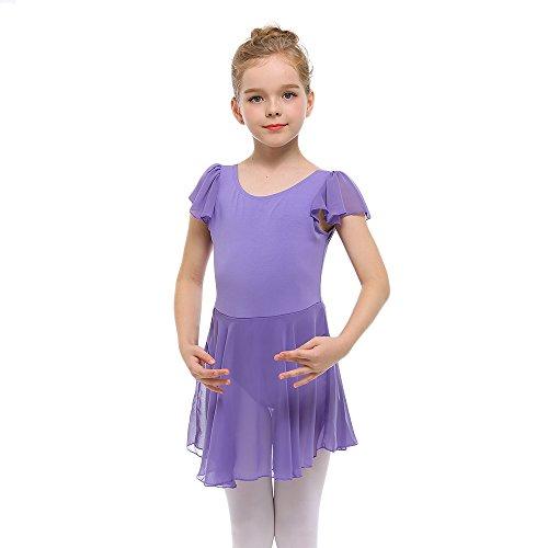 STELLE Girls' Cotton Ruffle Short Sleeve Dress Leotard For Dance, Gymnastics and Ballet (90cm (US 4Y), Purple)