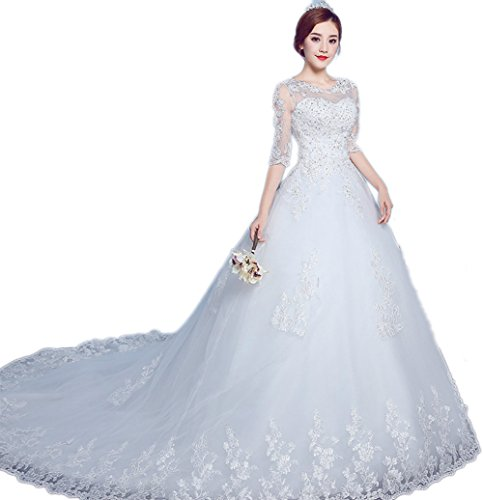 CEMCOS Classic Half Sleeve O-neck Lace Tailing White Wedding Dress (XL) by CEMCOS