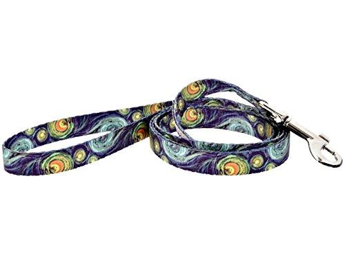 DoggyRide Fashion Dog Leash, 5-Feet by 5/8-Inch Small Hook, Van Gogh SN, Blue