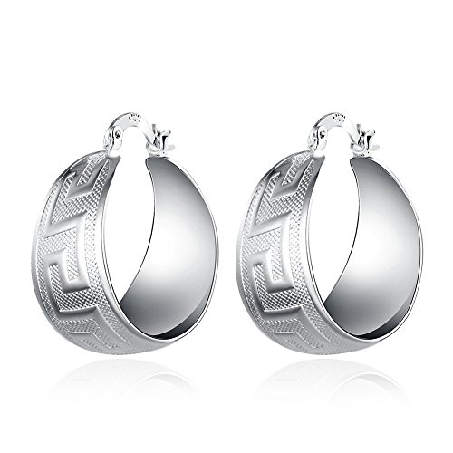 Love Direct Silver Plated Wide Round Hoop Earrings with Geometry Pattern (Silver)