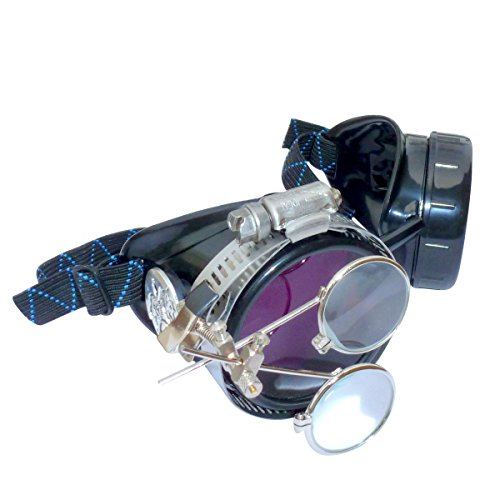 Steampunk Goggles Victorian Novelty Glasses cosplay CWG purple 1x with mag. loupes (purple - Steampunk Goggles Purple