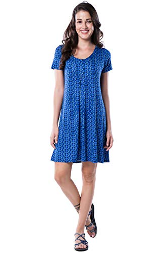 Nanakee Front Pleated Tunic Dress - Flattering Belly Cover Loose Fit Printed Shift Dress Short Sleeve T Shirt Dress - M - Blue Indigo