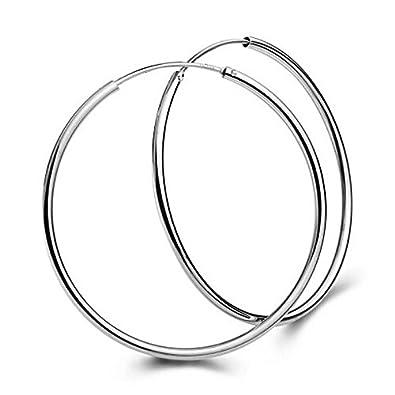 Hot Sale Litetao Womens Girls Earrings Big Smooth Earrings Clear Circle Round Hoop Charm Earrings Wedding Engagement Jewelry