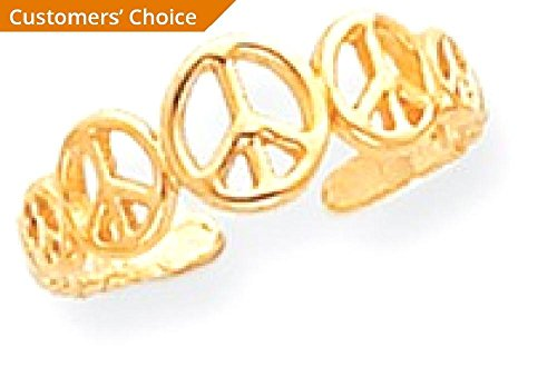 ICE CARATS 14k Yellow Gold Peace Sign Adjustable Cute Toe Ring Set Fine Jewelry Gift Set For Women Heart by ICE CARATS (Image #3)