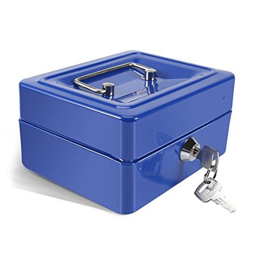 Caja Fuerte Portátil Cajas de caudales Caja de Dinero Pequeña con Cerradura de Llave, Caja de Seguridad Portátil de...