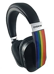 Diskin DH2 Bluetooth Wireless Over-Ear Stereo Headphones with Microphone and Volume Control and Carrying Case - Rainbow Flag Headphones