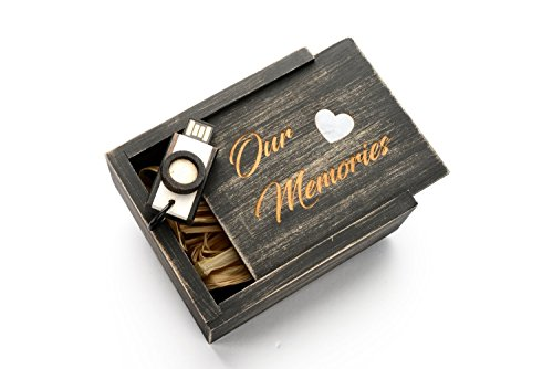 Drive Trim - 16GB Hand Made Maple Wood - Antique Finish Camera USB 2.0 - Wooden Box with Natural White Mother of Pearl Heart in Raffia Grass - Laser Engraved