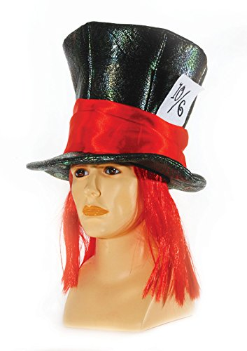 Mad Hatters Black Top Hat w Attached Red Hair - Adult One Size (Men Mad Hatter Costume)