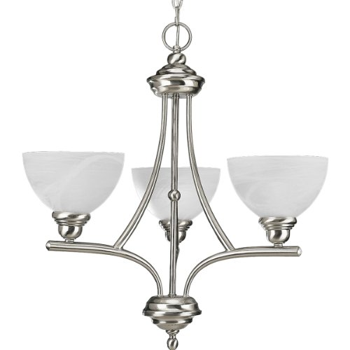 Progress Lighting P4082-09 3-Light Chandelier with White Alabaster Glass, Brushed - Brushed Glendale Three Nickel Light