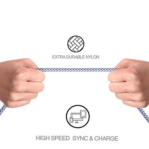 Maitron Phone Charger,3PACK (6FT) Nylon Braided Charging Cable Cord USB Cable Charger Compatible Phone X 8 8 Plus 7 7Plus 6s 6sPlus 6 6Plus 5 5s 5c SE Pad Pod and More (White) by Maitron (Image #5)