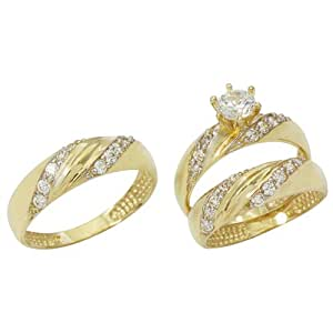 Amazon.com: 14K Yellow Gold His and Hers Cubic Zirconia