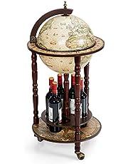 COSTWAY Wereldbol hout wijnbar standaard 16e eeuw Italiaans rek drankfles plank met wielen
