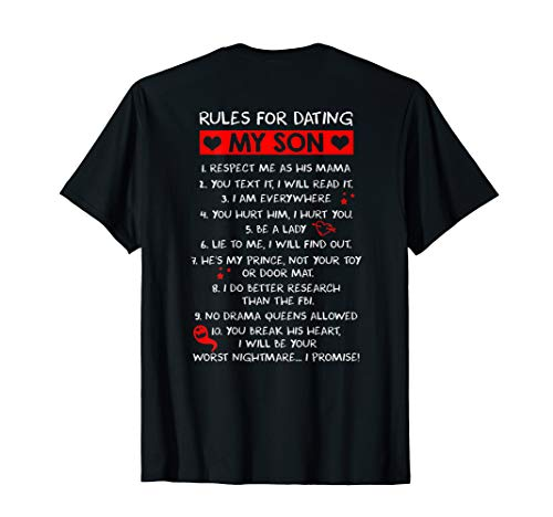 rules for dating my son tee for mom loves her son - mother T-Shirt