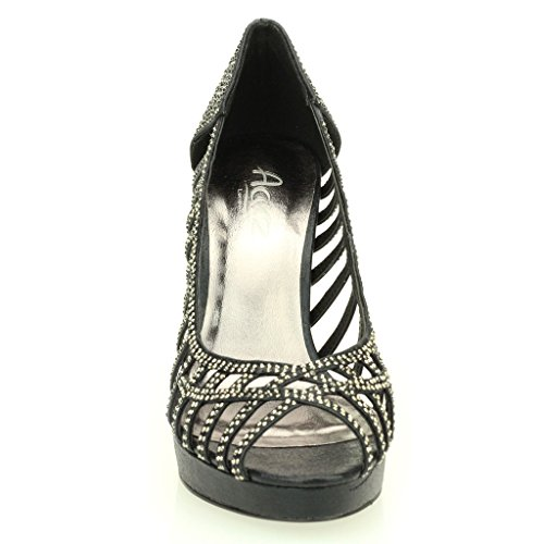 Party Peep Taille Diamante Noir Stiletto Toe Haute Mariée Sandale Argent Mariage Or Chaussures De Dames Soir Femmes Talon Noir t6nwRC8xq