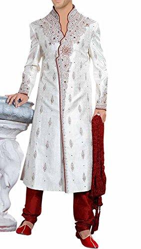 INMONARCH Mens Designer bollywood Indian partywear sherwani SH349 Custom-made Cream