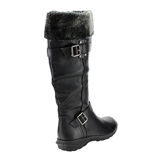Boots BLACK High Winter Forever Color Stud Strap Buckle IC24 Womens Knee 6aRw8q