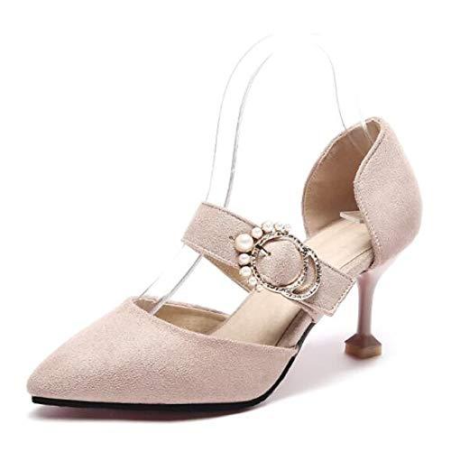 Spring Heels Brown Pink Polyurethane PU ZHZNVX Black Black Stiletto Shoes Women's Heel Comfort wnqaxgS1