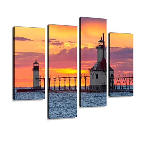 (St. Joseph Sunset Canvas Wall Art Hanging Paintings Modern Artwork Abstract Picture Prints Home Decoration Gift Unique Designed Framed 4 Panel)