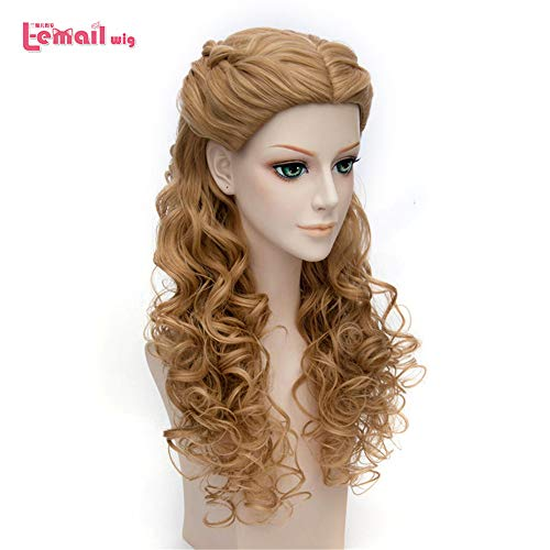 Wig Cosplay Party Costume Soft Synthetic Unisex Princess Long Curly Braid Hair Heat Resistant Synthetic Hair Perucas 24
