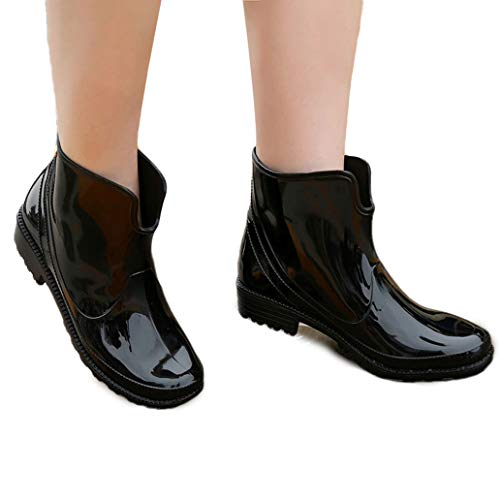 (York Zhu Rain Boots - Slip-on Waterproof Shoes Rubber Ankle Boots for Womens)