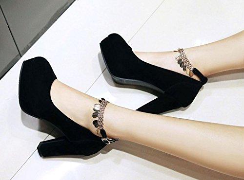 Zapatos De Tacón Alto De Cadena Metálica De Las Mujeres De Aisun Tacón Alto Abrochado Zapatos De Plataforma De La Plataforma De Punta Redonda Elegante Con Correa De Tobillo Negro