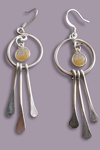 Handmade Lightweight Silver/Gold Long Aluminum Womens Earrings Beads by Bettina