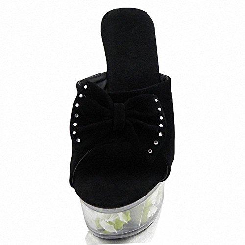 L@YC Tacones altos de las mujeres 15 cm rosas zapatillas de baile sandalias discotecas Black
