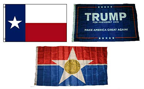 ALBATROS 3 ft x 5 ft Trump #1 with State of Texas with City of Dallas Set Flag for Home and Parades, Official Party, All Weather Indoors Outdoors
