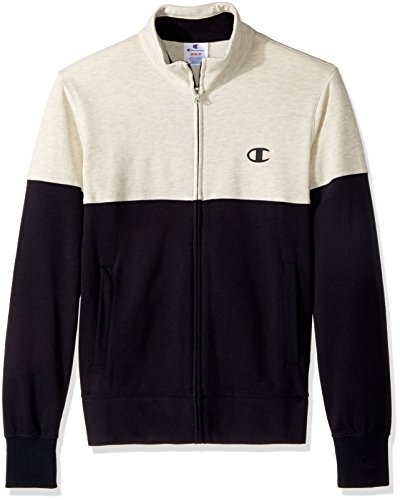 Champion LIFE Men's French Terry Full Zip Jacket (Limited Edition), Black/White, 2X (Life Black Full Zip Jacket)