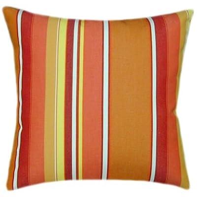 TPO Design Sunbrella Dolce Mango Indoor/Outdoor Striped Patio Pillow 14x14 (Small): Home & Kitchen