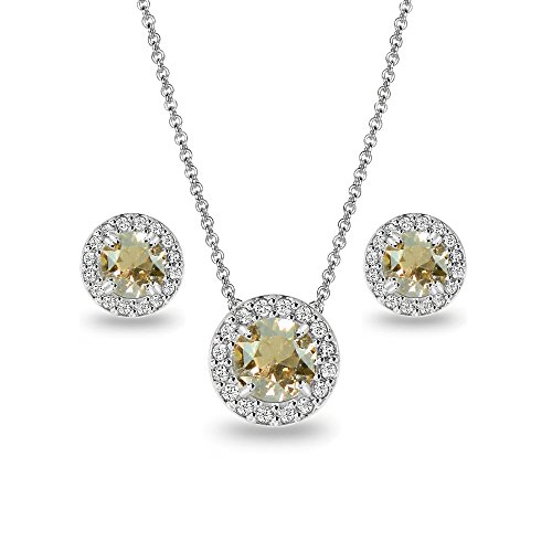 Ring Swarovski Golden (Sterling Silver Golden Shadow & Clear Round Halo Necklace & Stud Earrings Set Made with Swarovski Crystals)