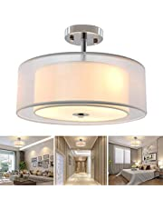 DLLT Semi Flush Mount Lighting Fixture Double Drum Pendant Lamp Close to Ceiling Light for Bedroom, Dining Room, Kitchen, Hallway, Entry, Foyer