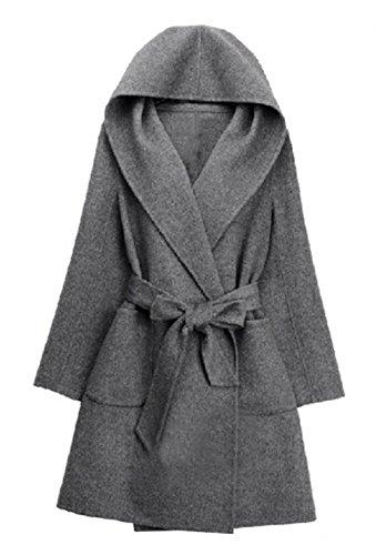 Blansdi Damen Mädchen Frauen Herbst Beiläufig Elegant Hoodied Lose Belted  Anti-Pilling Polar Fleece Trenchcoat ab6c911b18