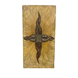 Essential Décor Entrada Collection Metal Wall Décor with Clock, 36 by 20 by 1-Inch