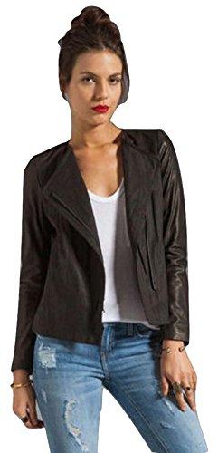 Vince Women's Leather Sleeve Linen Jacket, Black, 4